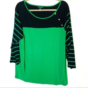 Ralph Lauren Striped Green and Navy Blouse Plus 2X